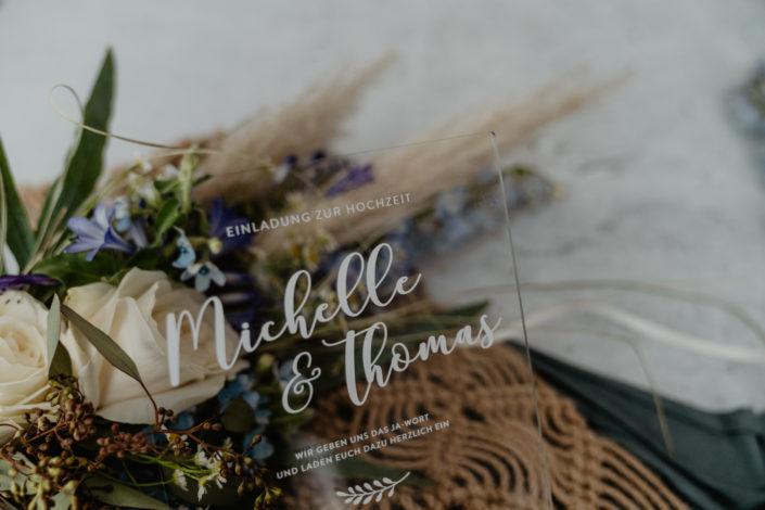 Hochzeitspapeterie Hochzeitseinladung Acrylglas