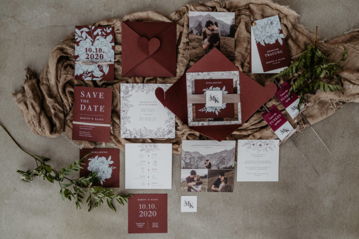 Hochzeitspapeterie Hochzeitseinladung Weißdruck