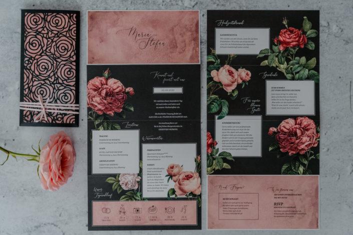 Hochzeitspapeterie Hochzeitseinladung Lasercut Rosen