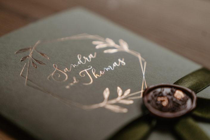 Hochzeitspapeterie Hochzeitseinladung Kupferfolienprägung