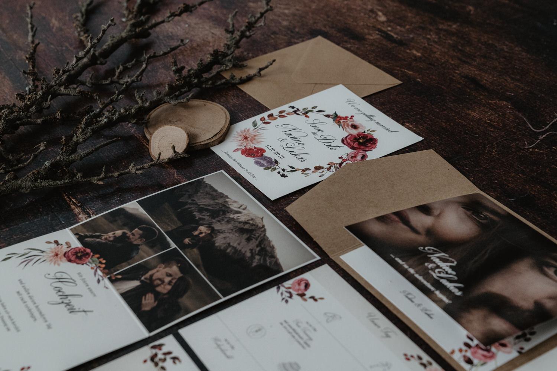 Hochzeitspapeterie Hochzeitseinladungen Kraftpapier Pocketmappen