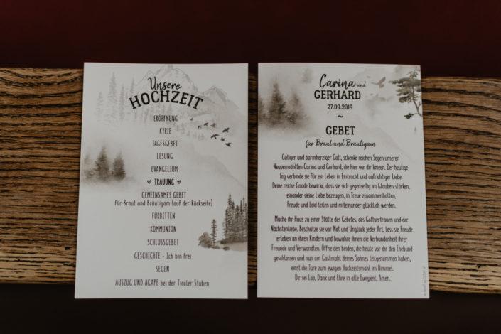Kirchenflyer Hochzeitspapeterie Ariane Frötscher