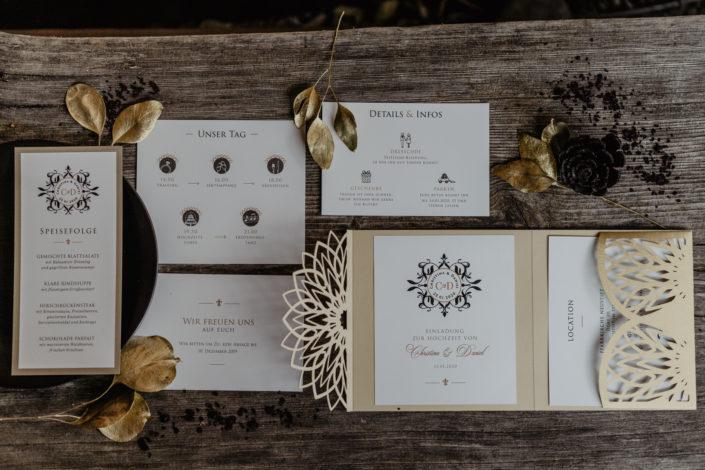 Hochzeitspapeterie Hochzeitseinladung Lasercut