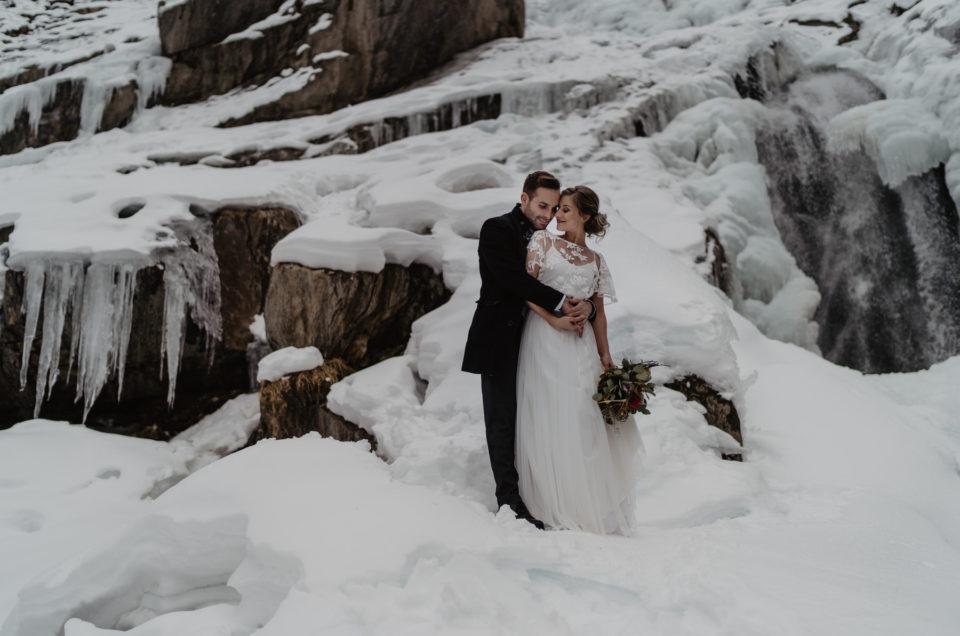 Hochzeitsshooting Winterhochzeit Tirol Stubaital Grawa Wassserfall
