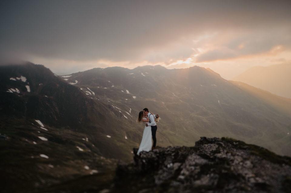 Afterwedding Shooting Zillertal Tirol Berge Sonnenuntergang
